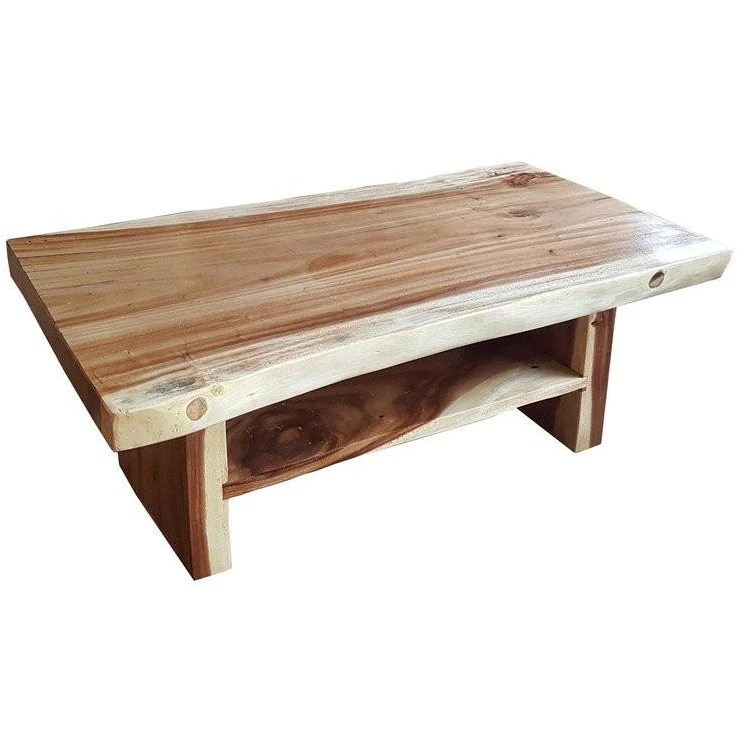 suar live edge slab coffee table with shelf by chic teak only 787 50