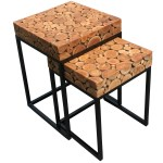 Teak Wood Nesting Side Tables Set Of 2 By Chic Teak Only 288 29
