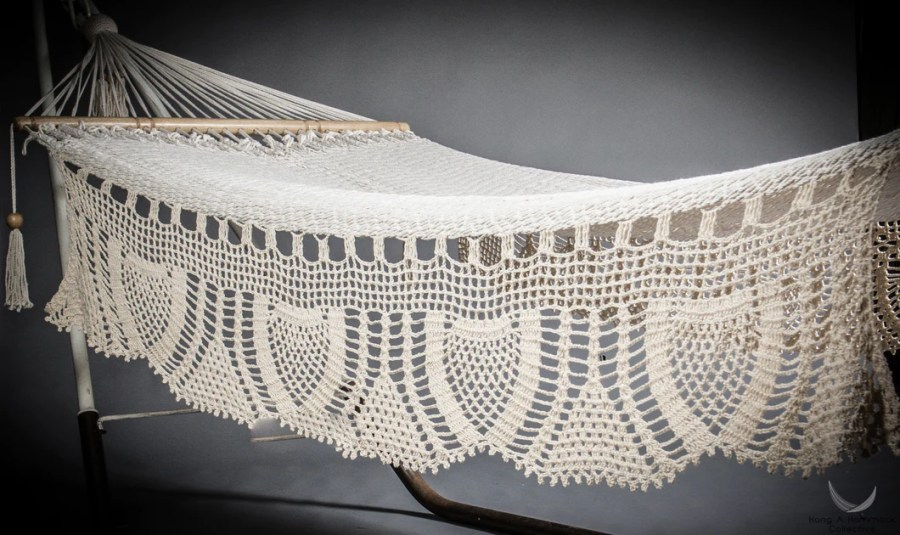 Hammock with bars  Cream color cotton ropes  Sustainable wood     hammock crochet fringe model Nicaragua Mayangna   studio photo