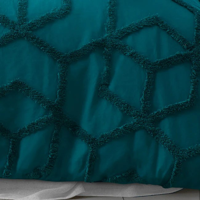 geometric tufted teal quilt cover set