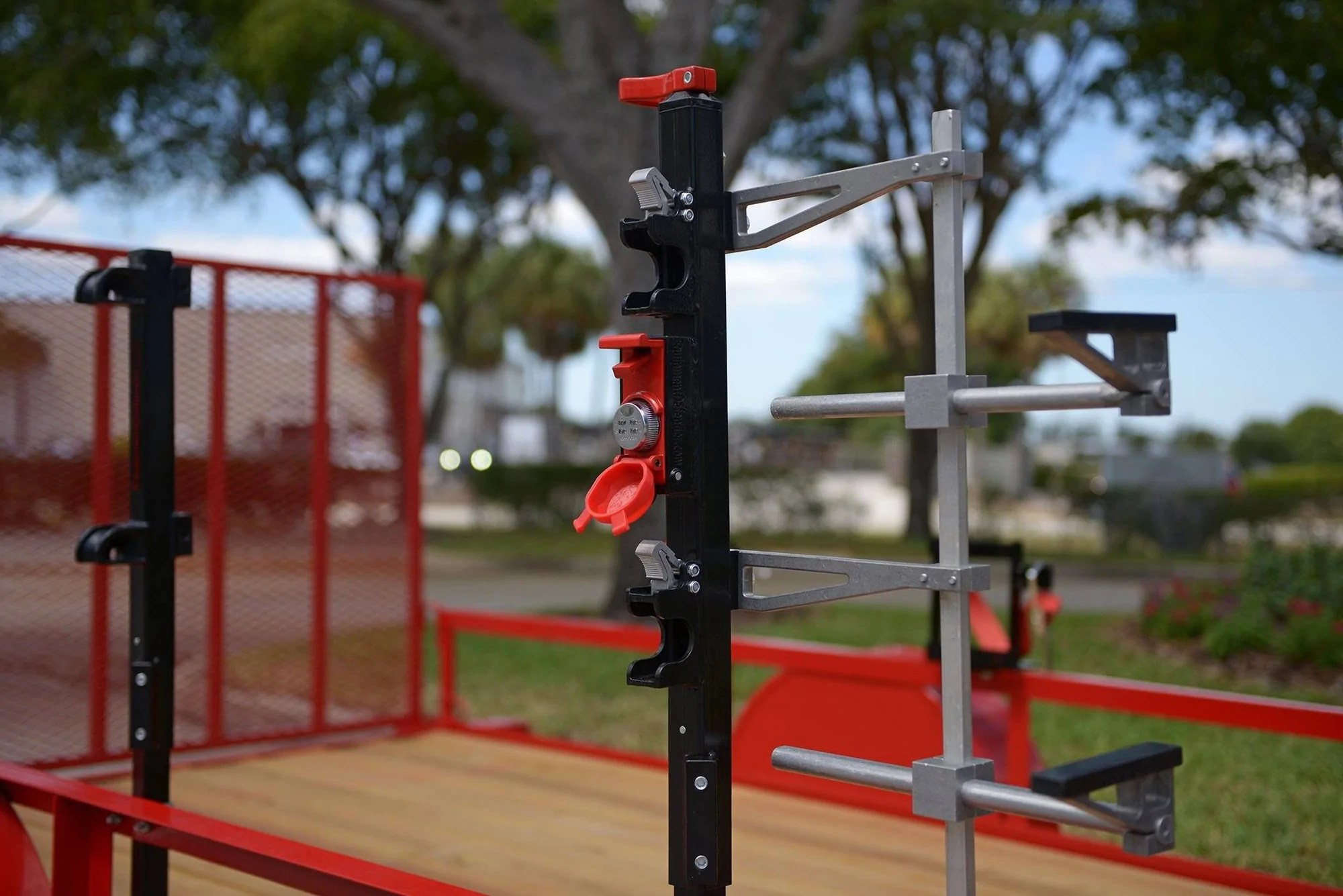 Itll hold two trimmers or weed whackers with the option to secure them with a padlock. Trimmer Racks Weedeater Racks Lockable Trimmer Racks For Trailers Equipment Defender