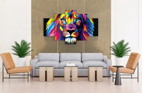 5 Pcs Framed Abstract Colorful Lion Canvas