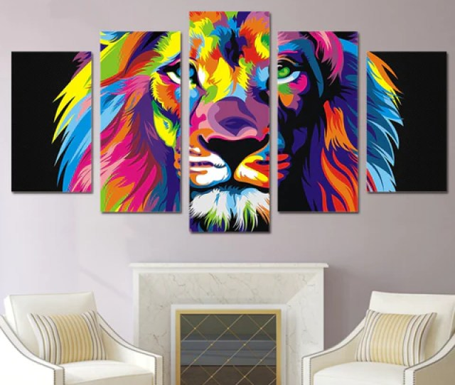 5 Pcs Framed Abstract Colorful Lion Canvas Print 5 Part Canvas Lion Art Canvas Abstract
