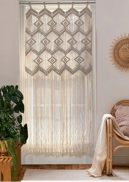 macrame wall hanging macrame curtains boho door curtain panels handmade wall decor