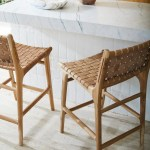 Fenton Fenton Leather Strapping Bar Stool With Back In Teak Tan