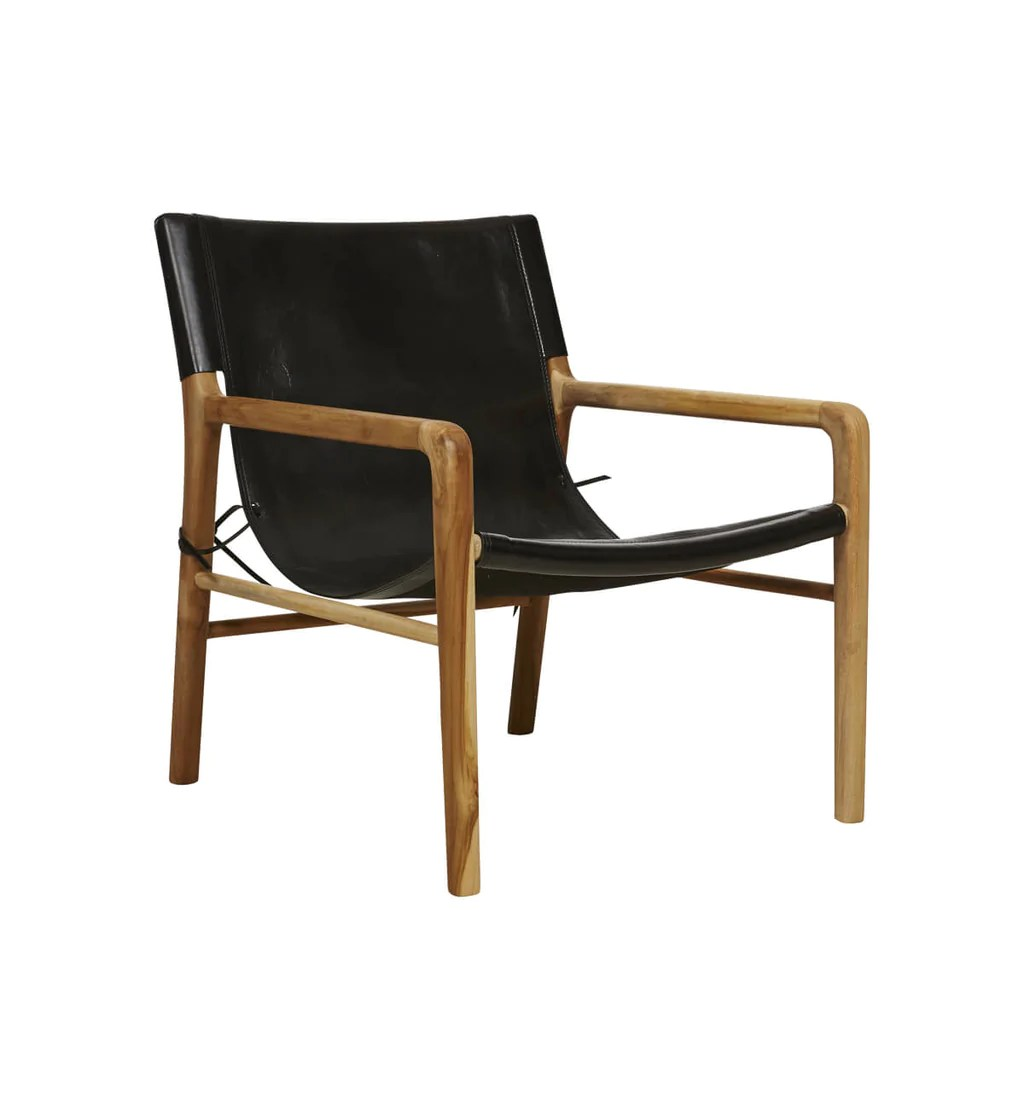 Fenton Fenton Leather Sling Chair In Teak Black