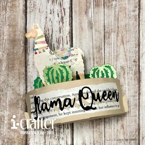 #thefrolickingfairy #icrafter #llamaqueen #llama #queen #boxpops #interactive #paperpiecing #cactus #desert #desertqueen #bookpages #cardmaker #cardmaking #cardmakersofinstagram