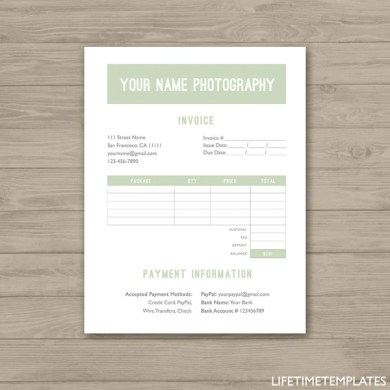 Photographer Invoice Form Green   Photoshop Template for     Photographer Invoice Form Green   Photoshop Template for Photographers    PSD  Instant Download