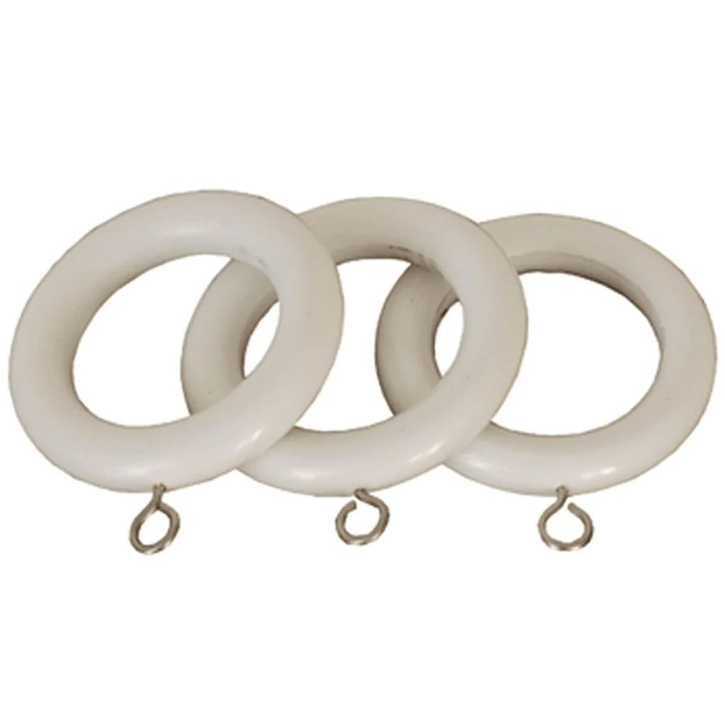 county 28mm wooden curtain rings white
