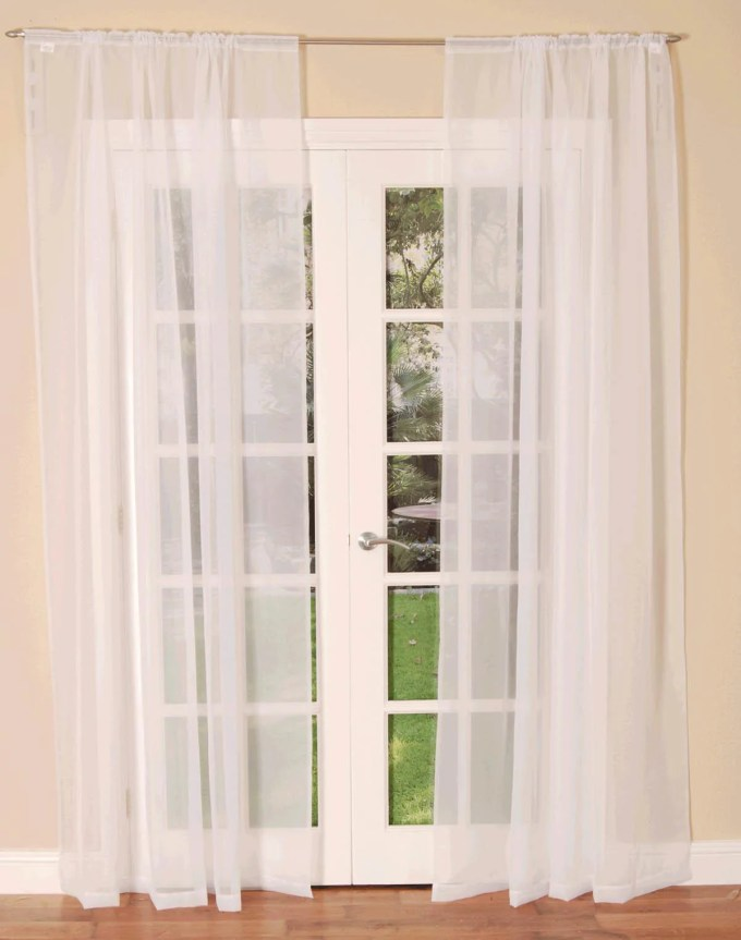 Slot Top Voile Single Curtain Panel White
