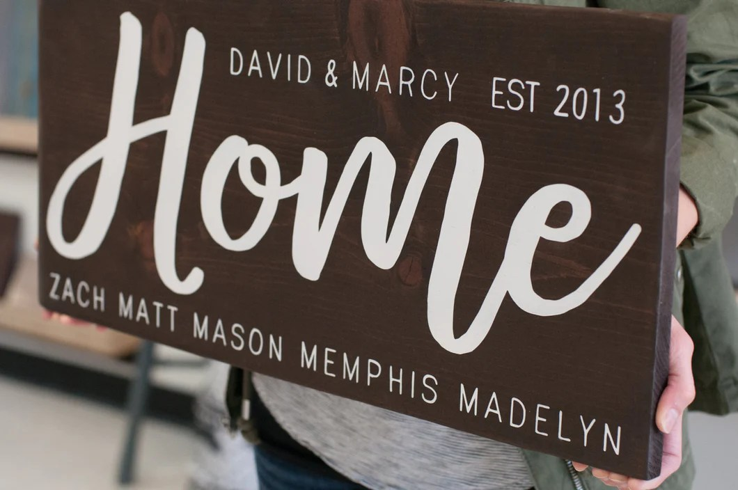 Wedding Gift For Blended Family Name Wood Sign