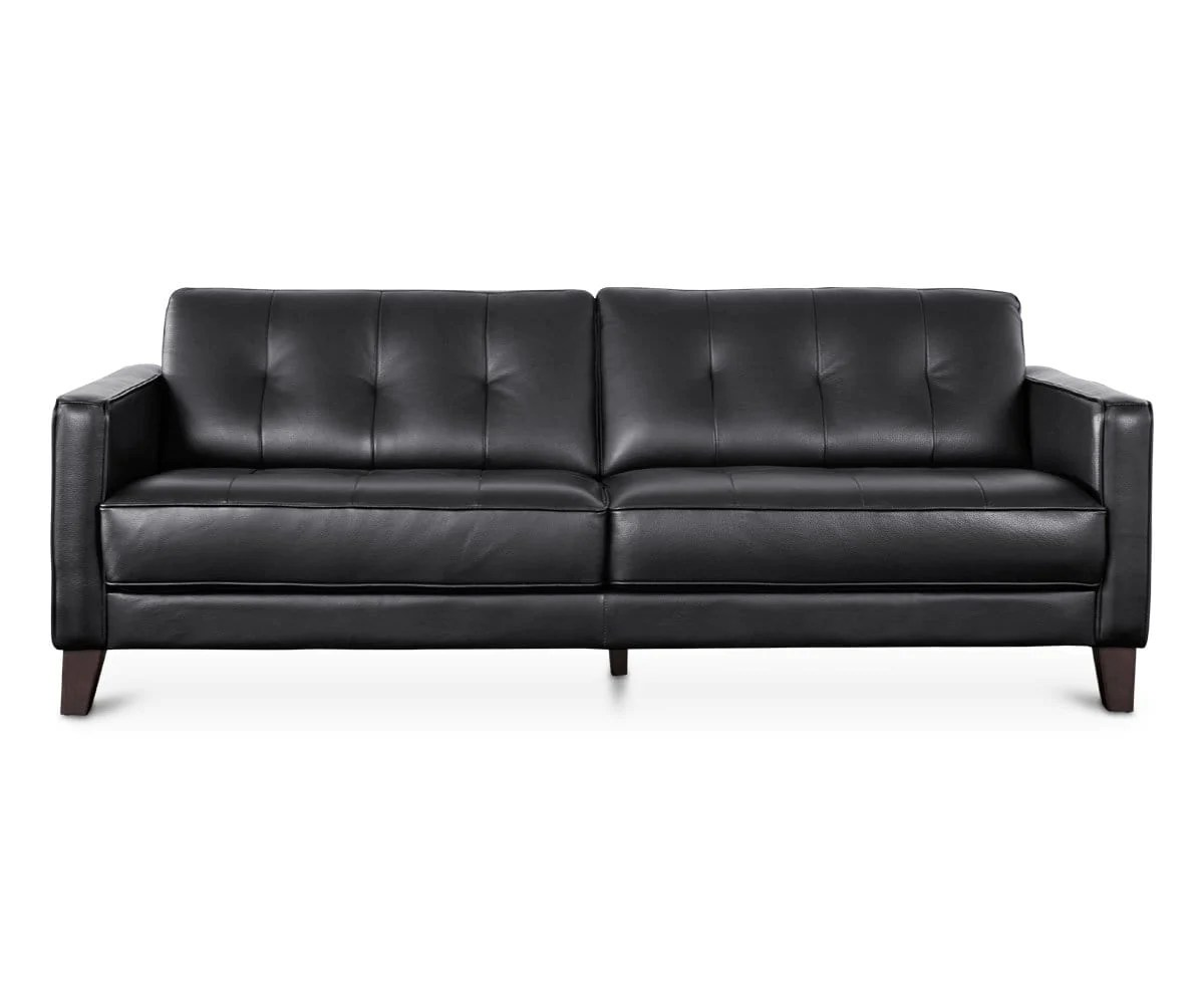 Gregata Leather Sofa Black Dania Furniture