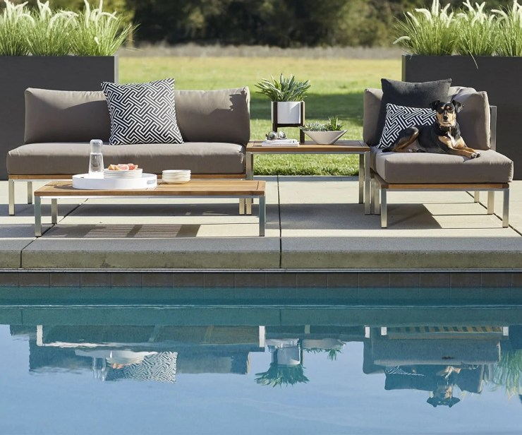 Mid Century Modern Outdoor Furniture, Farino Armless Sofa Taupe/Brushed Stainless Steel - Scandinavian Designs