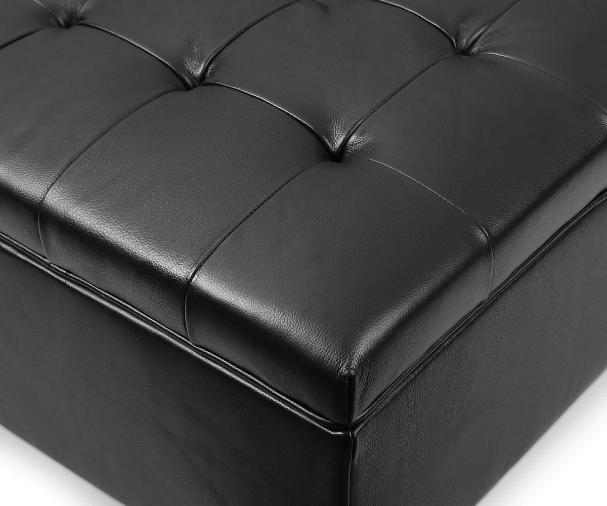 louise leather storage ottoman