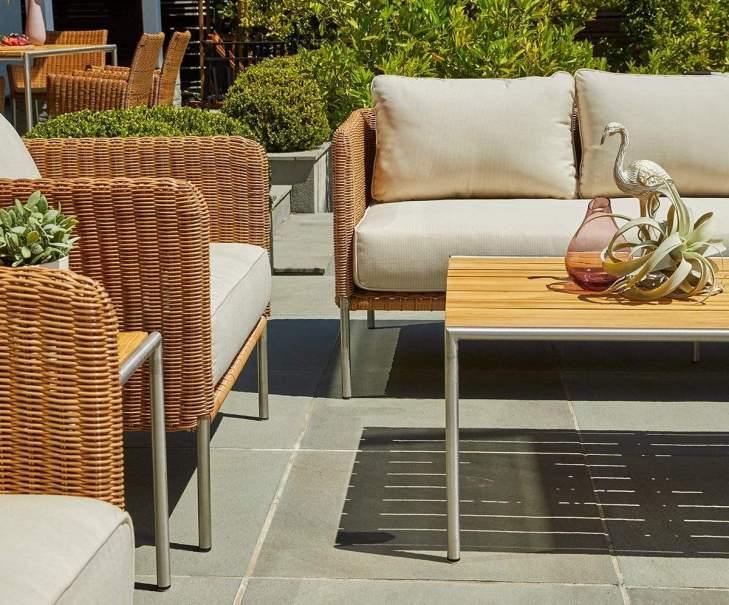 Mid Century Modern Outdoor Furniture, Palm Bay Outdoor Sofa Beige/Natural - Scandinavian Designs