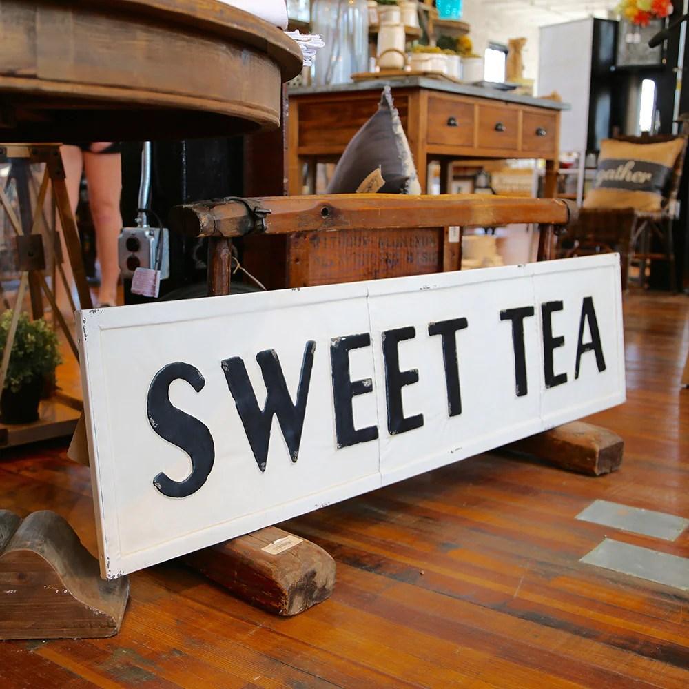 Vintage Embossed Metal SWEET TEA Sign Farmhouse Fresh