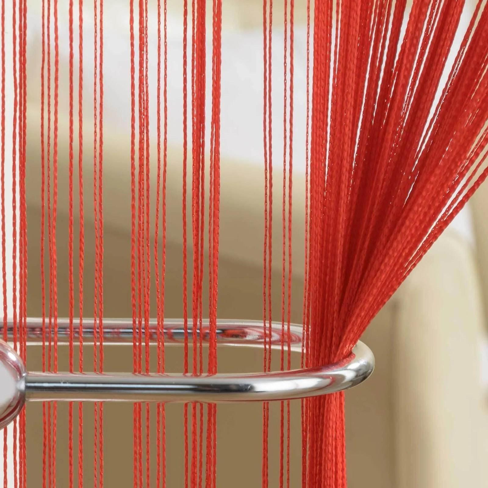 plain red string door curtain panel