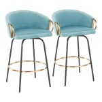 Claire Contemporary Glam Counter Stool In Black Metal And Light Blue V Housetie
