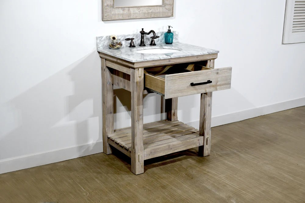 30 rustic solid fir single sink vanity with carrara white marble top no faucet