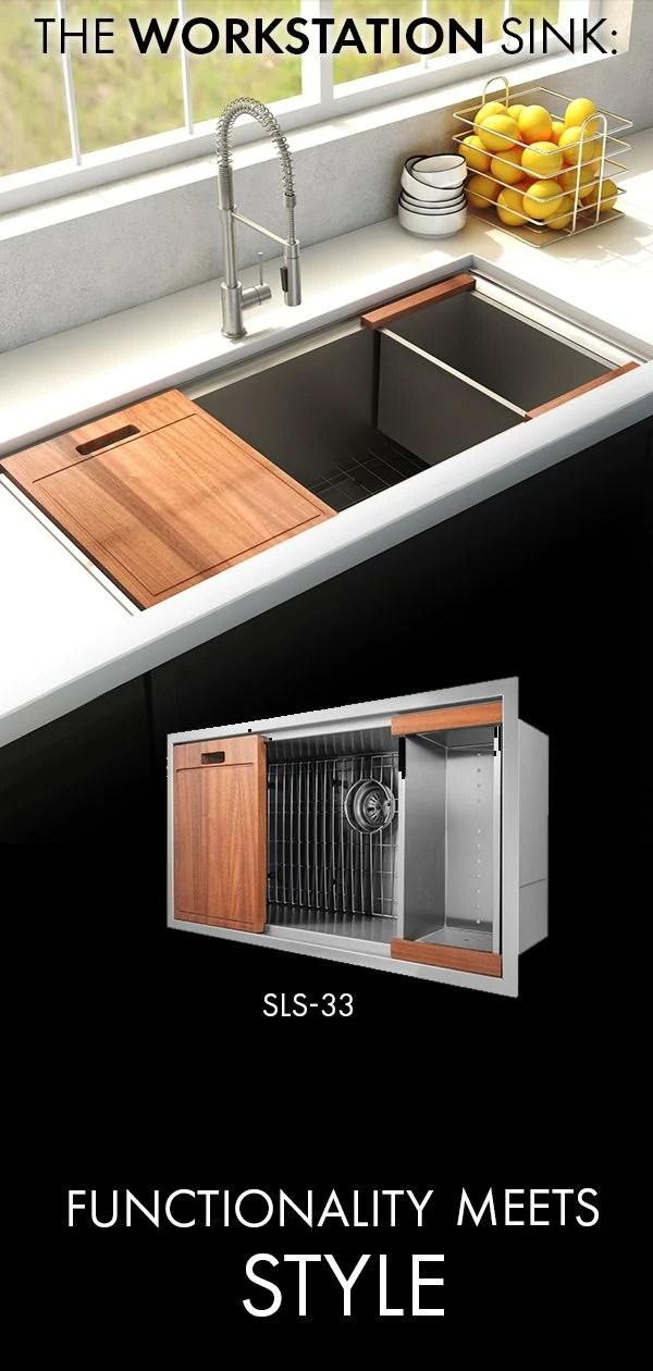 zline designer series 33 inch undermount single bowl ledge sink in stainless steel with accessories sls 33
