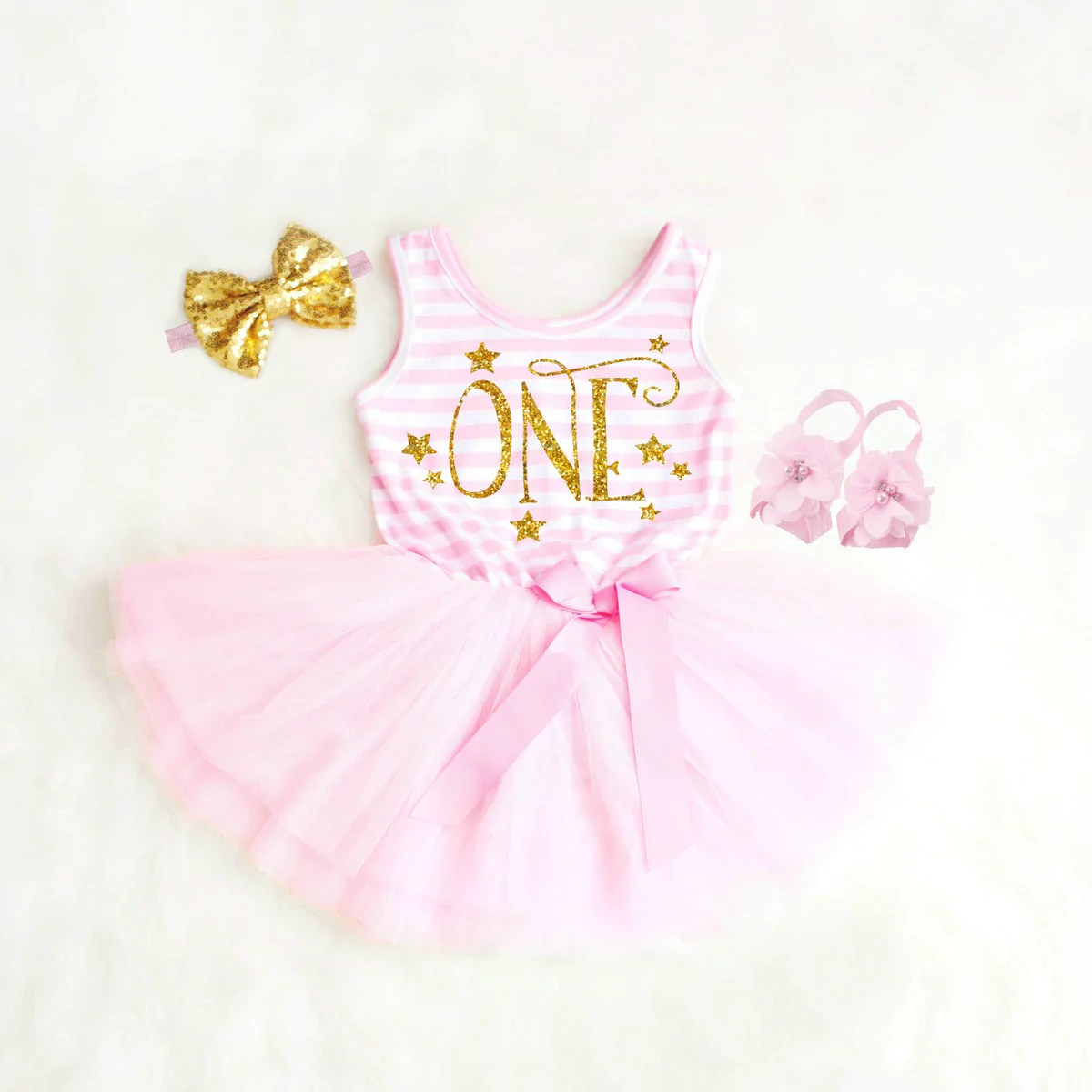 Pink And Gold First Birthday Outfits For Girls
