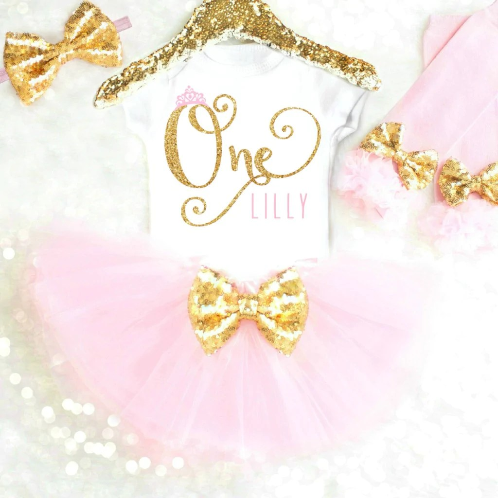 Personalized Princess First Birthday Outfit Pink And Gold
