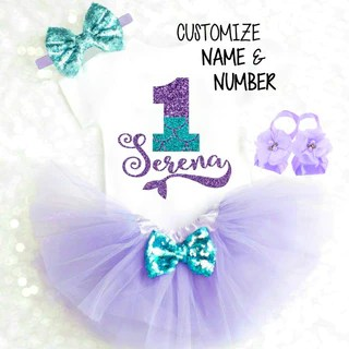 Girls Clothing 1st Birthday Girl Outfit Little Mermaid Birthday Outfit Mermaid Tutu Purple Teal Glitter 1st Birthday Tutu Tutu Outfit Clothing Sets