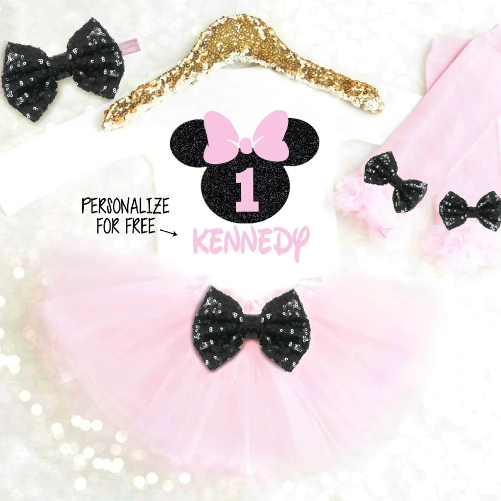 Pink And Black Minnie Mouse 1st Birthday Outfit Personalized