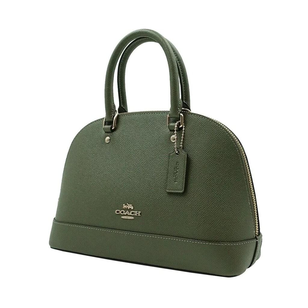 coach f27591 mini sierra crossgrain leather satchel military green