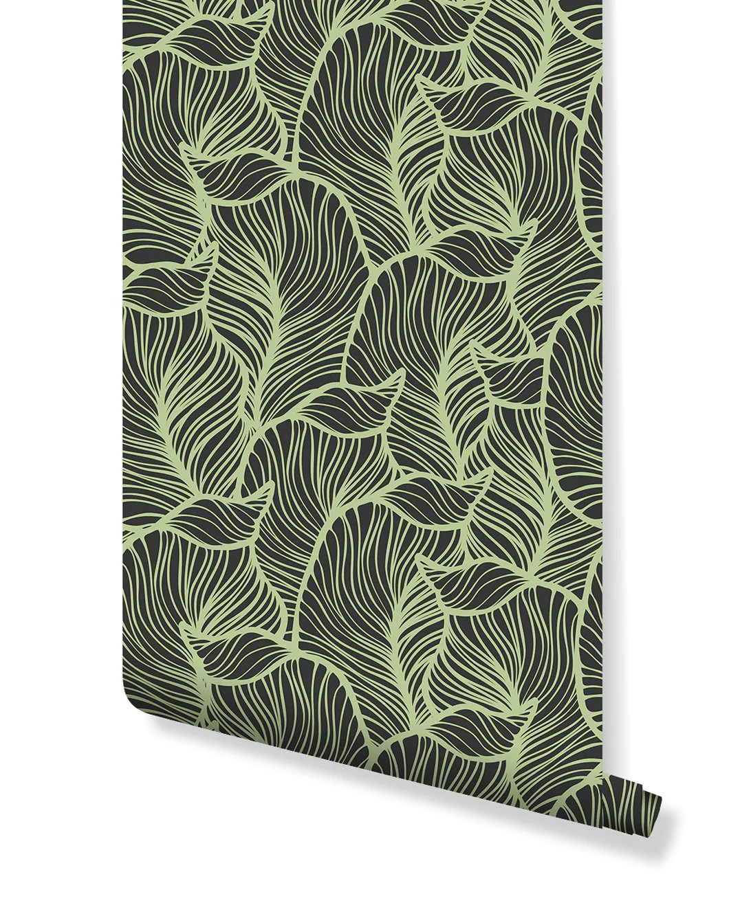 Self Adhesive Green Tropical Leaves Removable Wallpaper Vinyl Costacover