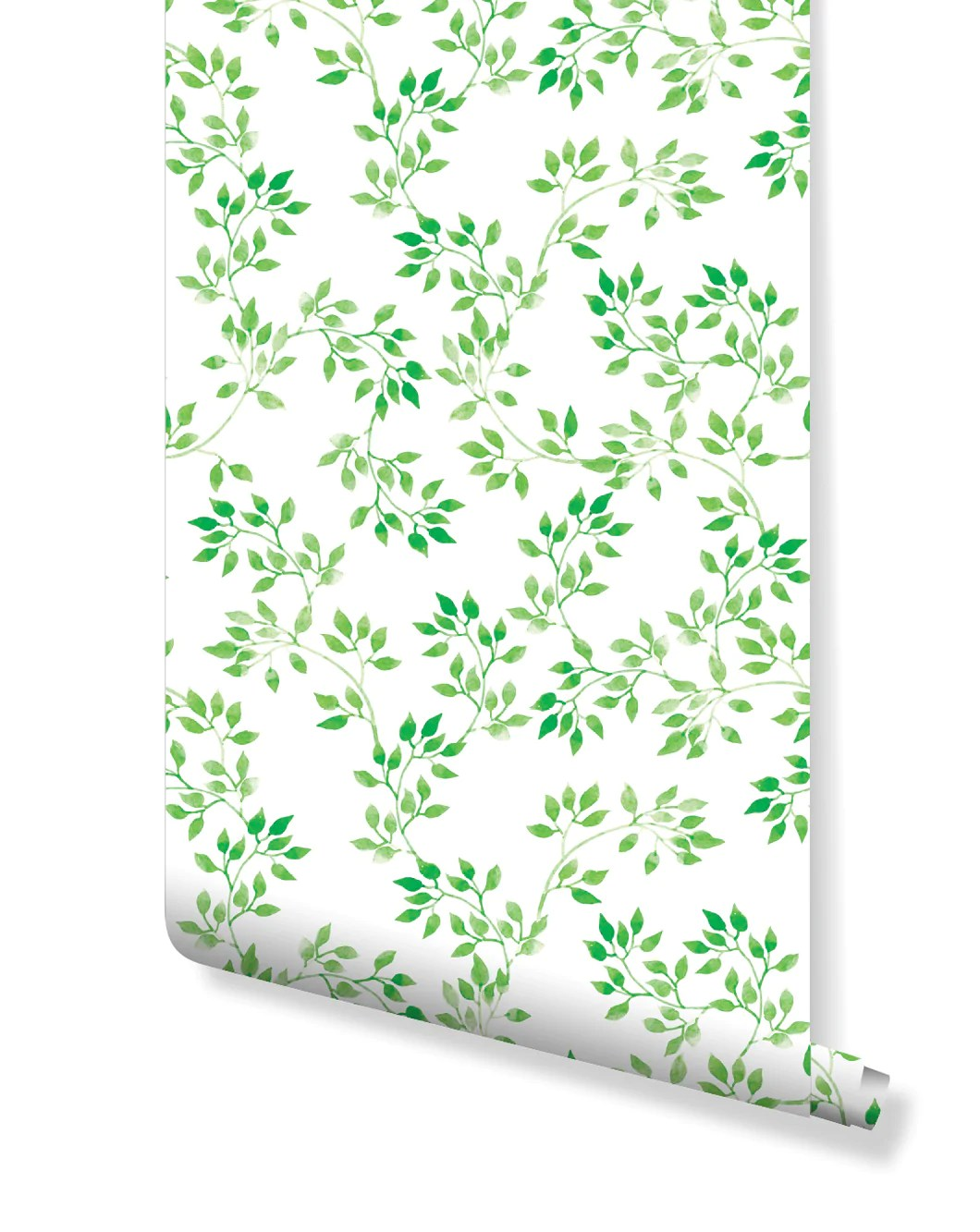 Self Adhesive Removable Wallpaper Watercolor Fresh Green Leaves Design Costacover
