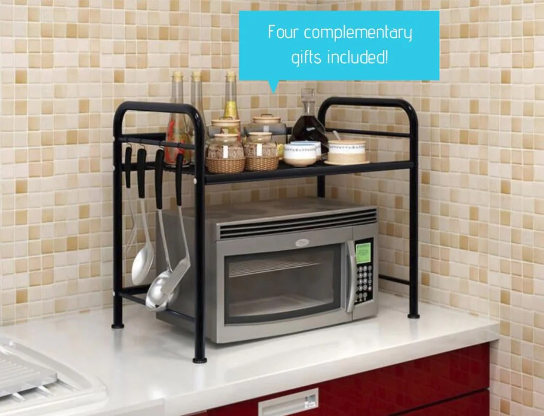 2 layers microwave oven shelf rack stand kitchen storage holders