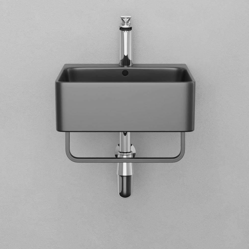 16 fonzo wall mount black vitreous china sink with black powdercoat steel towel bar