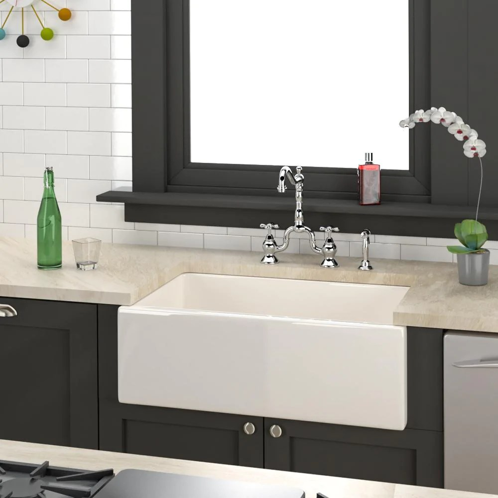 30 hempstead fireclay reversible single bowl farmhouse sink with offs magnus home products
