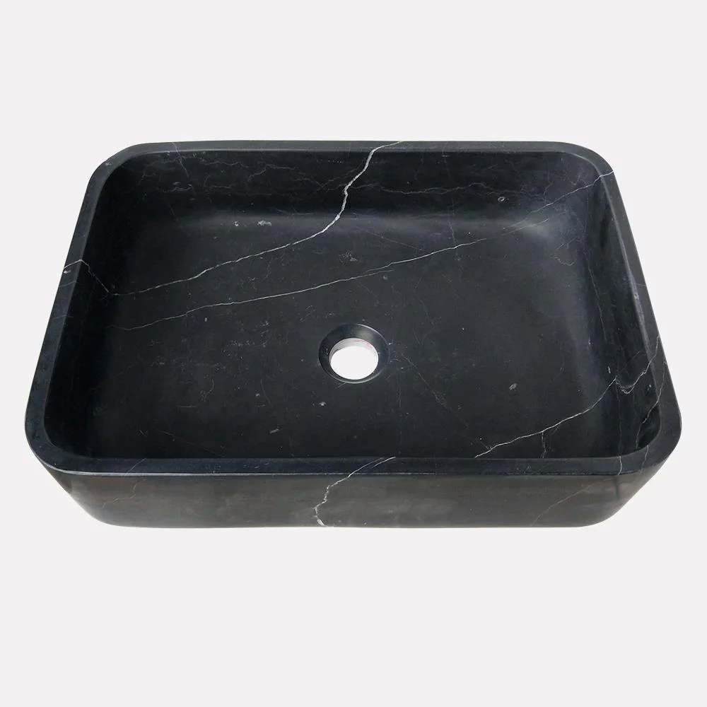 almadane smooth honed black forest marble vessel sink