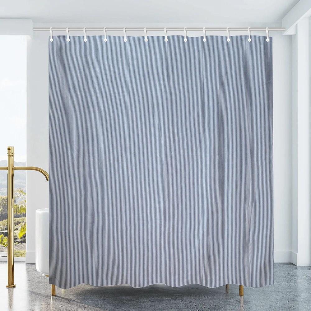 cotton duck shower curtain white blue stripes