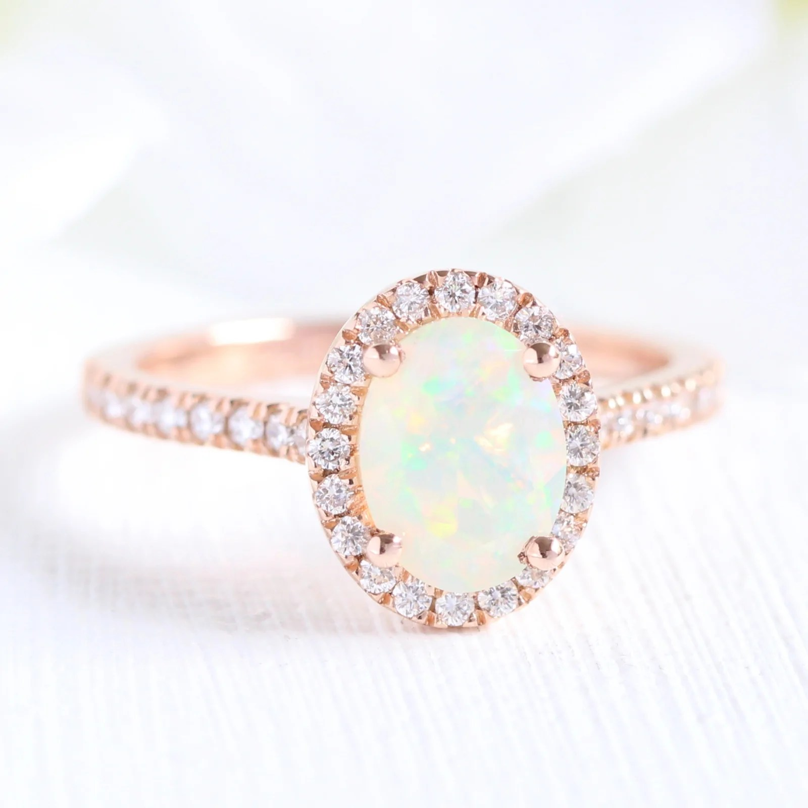 Luna Halo Ring In Pave Band W Oval Cut Opal And Diamond La More Design