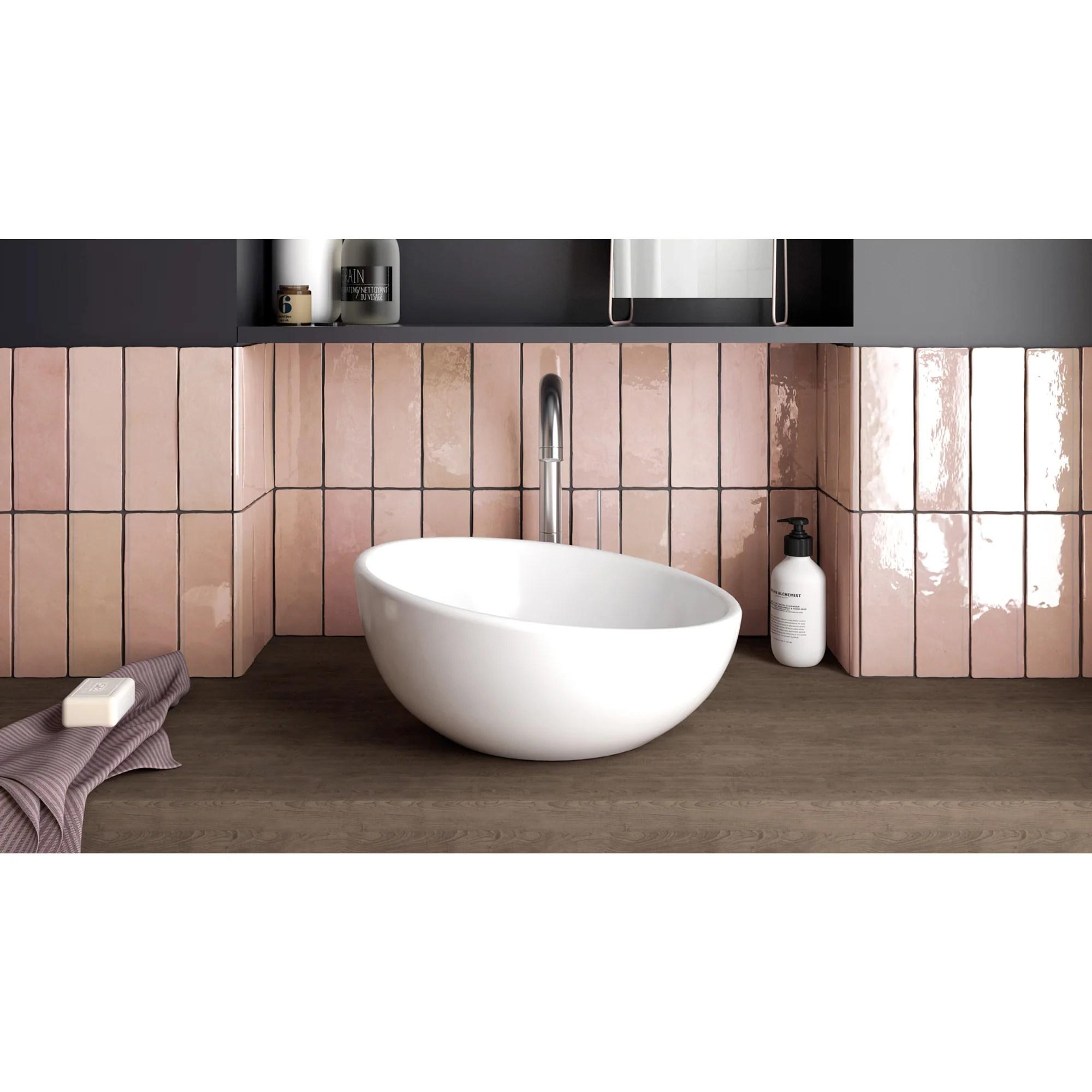 bedrosians tile stone cloe 2 5 x 8 wall tile pink