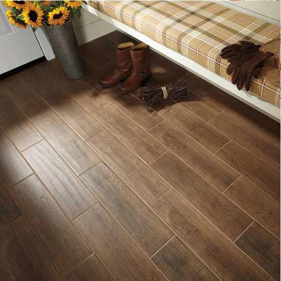 daltile willow bend 6 in x 36 in glazed porcelain floor tile dark brown