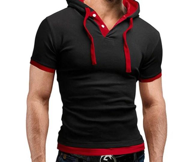 New Men Tshirt Hooded Tees Hot Sale Summer Cool Design T Shirt Homme Fitness Fashion Brand Clothing Male T Shirt Plus Mens T Shirts