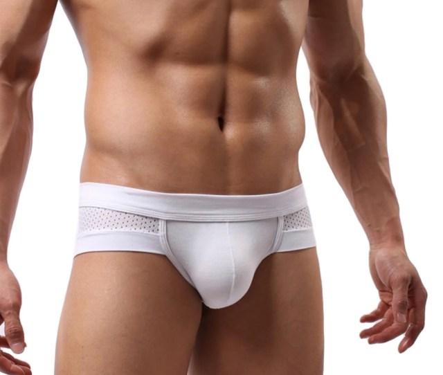 Sheer Mesh Bulge Enhancing Briefs Slip Spandex Underpants Sexy White Gay Underwear Brands Breathable T Back G String 2017 Mens Briefs