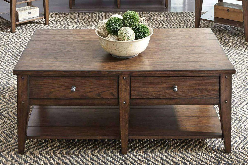 harding rectangular brown oak plank top