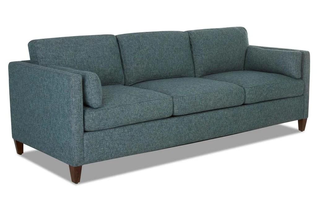 Marcie Fabric Mid Century Track Arm Deep Seat Sofa Set
