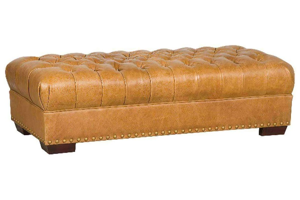merrick 60 inch long large rectangular leather chesterfield tufted bench ottoman