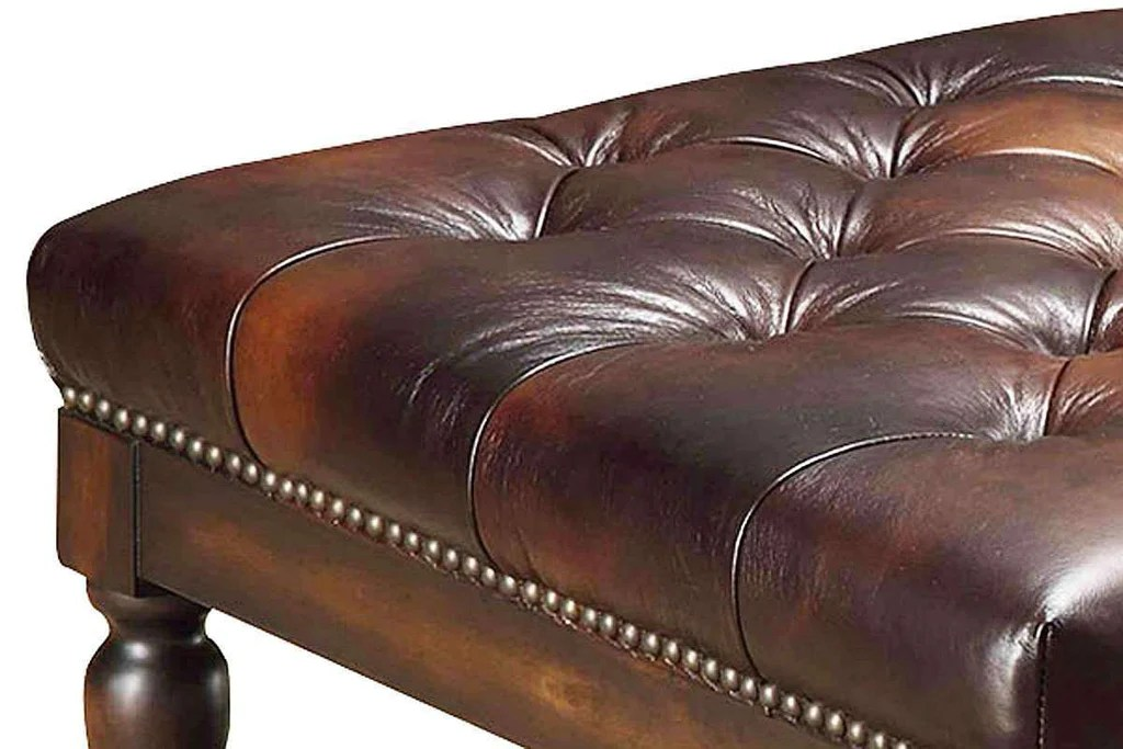 alfred tufted leather coffee table with