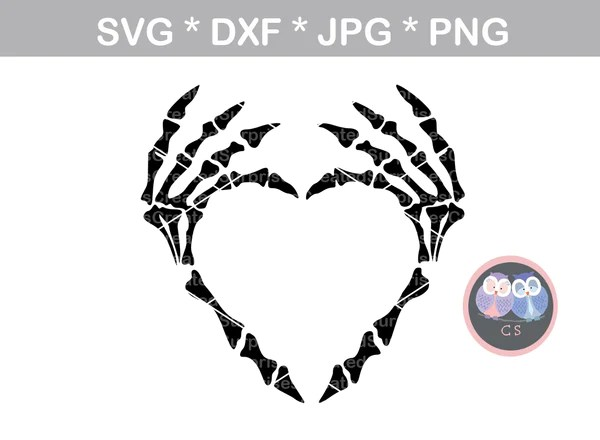 Download Skeleton heart hands, Halloween, digital download, SVG ...