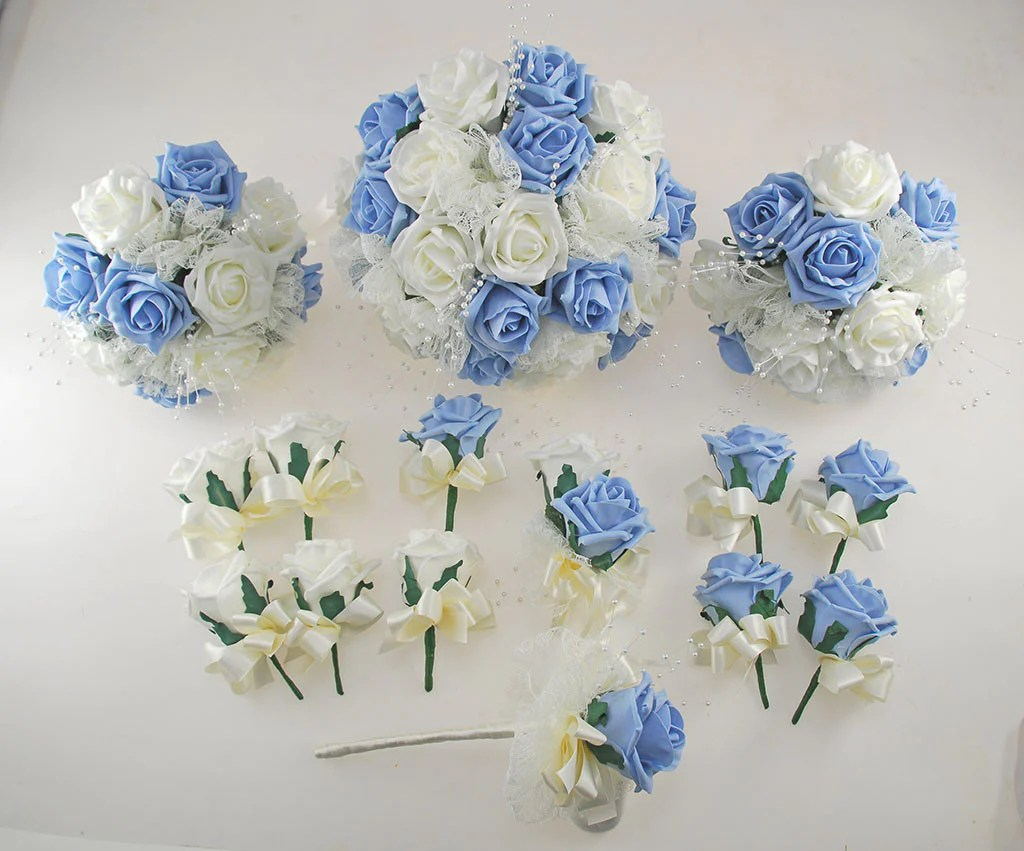 Light Blue And Ivory Rose Wedding Flower Package, Pearl
