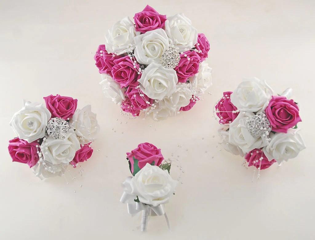 Dark Pink And White Diamante Foam Rose, Brooch Wedding
