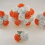 Orange And White Diamante Foam Rose And Brooch Wedding Flower Package Budget Wedding Flowers