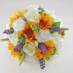 Sunflower Wheat Lavender Ivory Rose Bridal Wedding Bouquet Budget Wedding Flowers